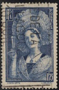 France Scott 350 Used  Champagne Region costume stamp 1938