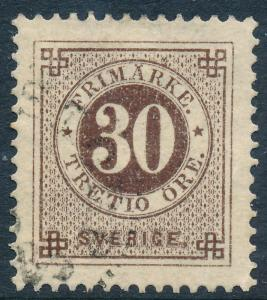 Sweden Scott 35/Facit 35d, 30ö brown Ringtyp p.13, VF Used