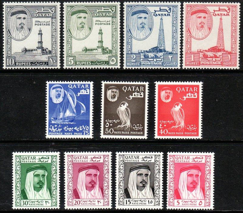 1961 Qatar Sheik Ahmad bin Ali al Thani full set MLH Sc# 26 / 36 CV: $122.65