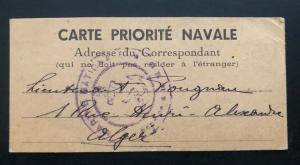 1939 WW2 National Navy Post Office Algeria France Official Postcard Cover