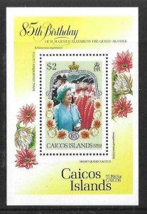 1985    CAICOS ISLANDS  -  SG.  MS 85  -  QUEEN MOTHER -  MNH