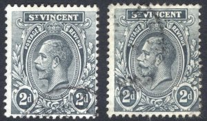 St Vincent 1913 2d Grey & Slate Shades SG 110-110a Sc 106 vars VFU Cat£76($98)