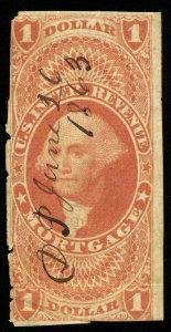 B331 U.S. Revenue Scott R73a $1 Mortgage imperforate 1863 manuscript cancel