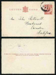 LCP5 KGV 1d Carmine Post Office Issue Letter Card Two Line Instruction Used