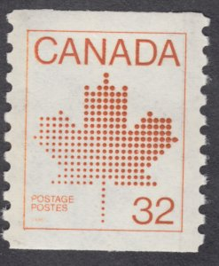 Canada - #951  32c Maple Leaf Coil  - MNH