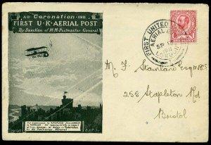 1911 First UK Aerial Post 'Emergency' Printed Envelope 13th SEPT Bristol