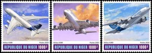 NIGER - 2020 - Airbus A380 - Perf 3v Set - Mint Never Hinged