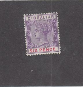GIBRALTAR (MK1013) # 19 VF-MH  6d  QUEEN VICTORIA /PURPLE-CARMINE CAT VALUE $47