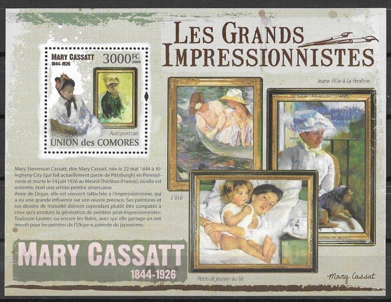 Comoro Islands MNH S/S Mary Cassatt Impressionist Paintings
