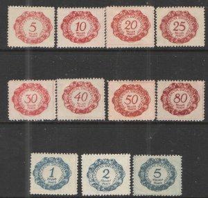 Liechtenstein 1920 Sc# J1-J12 MH/HR VG - Complete set Postage dues