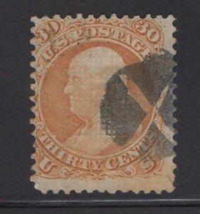 US Stamp Scott #100 30c Orange F Grill USED SCV $950