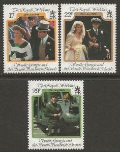 S.GEORGIA&S.SANDWICH SG158/60 1986 ROYAL WEDDING MNH