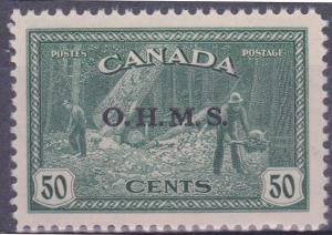 Canada #O9 Mint VF-NH 1949 50c Lumbering Ovpt. O.H.M.S.
