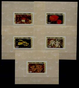 Comoro 623-27 MNH imperf.s/s Mushrooms
