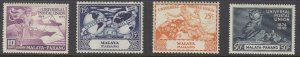 MALAYA-PAHANG # 46-49 VF-MLH UNIVERSAL POSTAL UNION /75th ANNIVERSARY SET/LOT #3