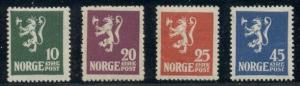 NORWAY #100-3 (126-9) Complete Lion set, og, NH, VF, Scott $250.00