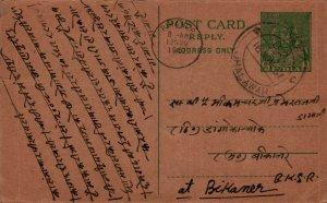 India Postal Stationery 9p Jhalawar cds to Bikaner