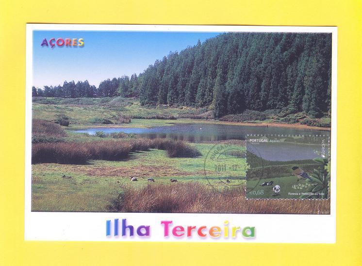 MAXIMUM CARD PORTUGAL AZORES CEPT EUROPA 2011 FOREST TERCEIRA ANGRA cow bird