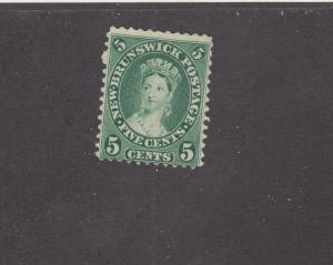 NEW BRUNSWICK # 8 FVF-MNG 5cts  1860 QUEEN VICTORIA / YEL-GRN CAT VALUE $15