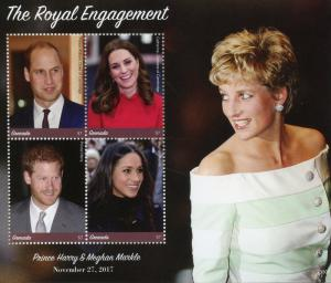 Grenada 2018 MNH Prince Harry & Meghan Engagement William 4v M/S Royalty Stamps