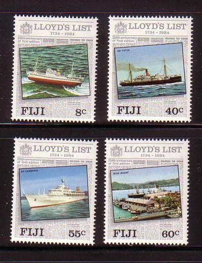 Fiji Sc 509-2 1984 Lloyds List stamp set mint NH