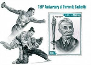 Maldives - 2013 Pierre de Coubertin - Stamp Souvenir Sheet - 13E-063