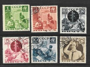 Russia Scott 583a-588a Used complete set sports Pioneers 2017 CV $13.75