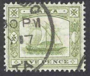 Malta Sc# 45 Used 1910 5p olive green King Edward VII