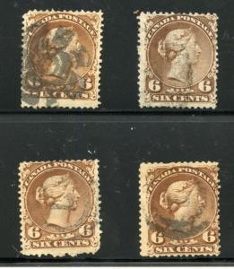 CANADA LOT OF FOUR USED SCOTT#27 QUEEN VICTORIA SIX CENT BROWN