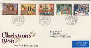 GB - 1986 - SG1341/6 on EDINBURGH Philatelic Bureau Special FDC Christmas Issue