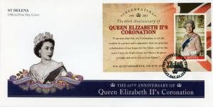 St Helena 2013 FDC Queen Elizabeth II Coronation 60th Anniv 1v M/S Cover Stamps