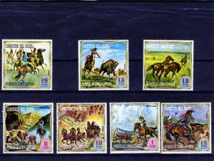 Equatorial Guinea CONQUEST OF THE WEST COWBOY Set (7) Perforated Mint (NH)