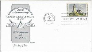 #1391, 6c Maine 150th, Artmaster/Masonic cachet, single/block of 4