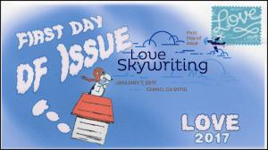 17-003, 2017, Love, Sky Writing,, First Day Cover, Digital Color Postmark