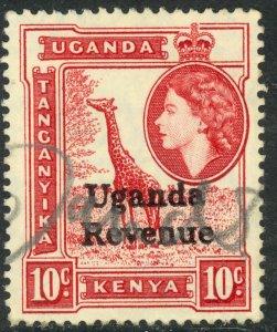 UGANDA 1954 QE2 10c GIRAFFE Revenue Issue Bft 117 Used