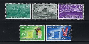 TRINIDAD & TOBAGO- SCOTT #105-109 1962 INDEPENDENT STATE   MINT NEVER HINGED