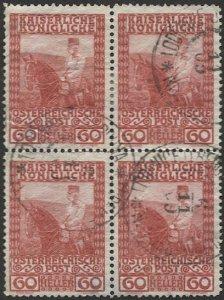 AUSTRIA 1908  Sc 122  60h Used  Block of 4  VF, LODENICE Czech cancel