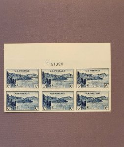 761, Crater Lake, Plate Block of 6, Mint No Gum Imperf, CV $49.00