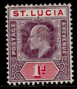 ST. LUCIA EDVII SG66a, 1d dull purple & carmine, LH MINT. Cat £11. CHALKY
