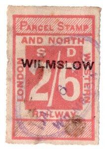 (I.B) London & North Western Railway : Parcel Stamp 2/6d (Wilmslow)