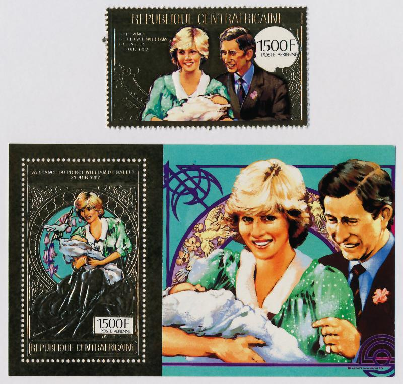 Central African Republic Gold Foil C281a-b MNH Princess Diana, Prince William
