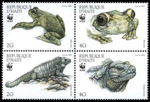 Haiti WWF Ground Iguana and Giant Tree-frog 4v in block 2*2 SG#1636-1639