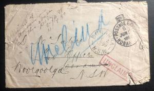 1899 Hobart Tasmania Stampless Postage Due Cover To Coramba Australia