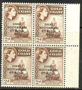 GHANA 1958 2d INDEPENDENCE OVPT Block of 4 Sc 25 MNH DRUMS
