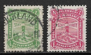 1931-2 New Zealand OY11 & OY13 Life Insurance, Lighthouse used