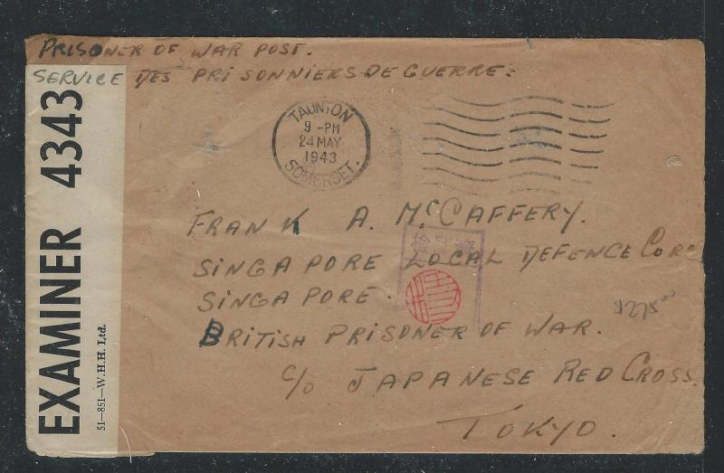 MALAYA JAPANESE OCCUPATION (P0712B)1943 POW COVER TO SINGAPORE LOCAL DEFENCE FOR
