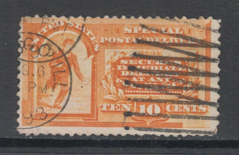 US Sc E3 used 1893 10c Special Delivery, double Chicago CDS