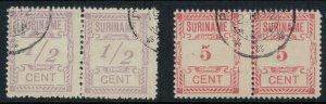 Surinam #70,72 pairs  CV $19.40