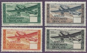 French Equatorial Africa # C5-8,mint color trials, tri motor plane, issued 1937