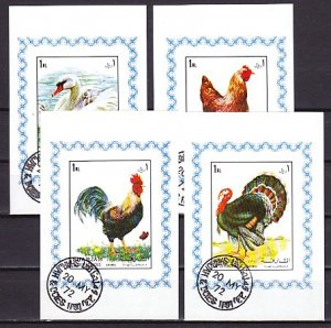 Sharjah, Mi cat. 1190-1193 C. Birds issue. 4 Deluxe s/sheets. Canceled. ^